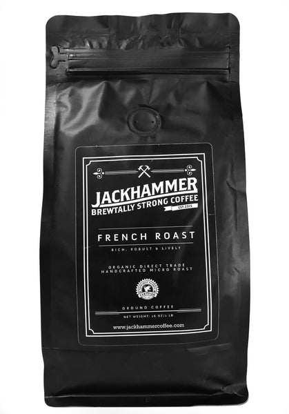 Jackhammer French Roast Organic Coffee, Ground, 1 LB