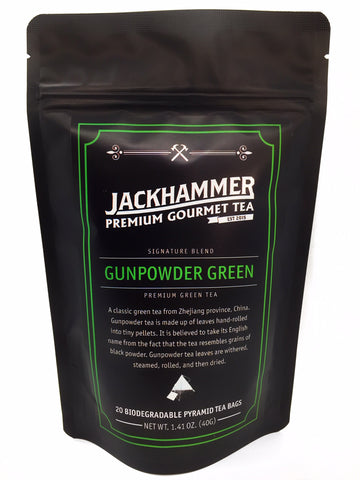 Jackhammer Pinhead Organic Gunpowder Green Tea, 20 Teabags, 1.41 oz.