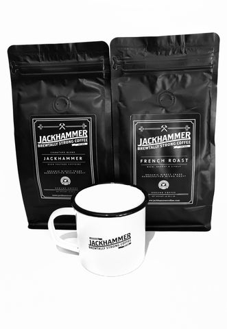 JACKHAMMER High Voltage Original & French Roast Coffee Mug Set, Ground, 1 LB - Free Shipping!
