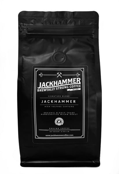 JACKHAMMER  High Voltage Caffeine Organic Coffee, Ground, 1 LB  Free Shipping!