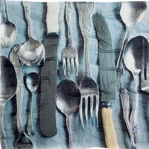 GOOD & CO Silk Scarves - A KING AMONGST THEM from the Kings Pattern of antique silver cutlery