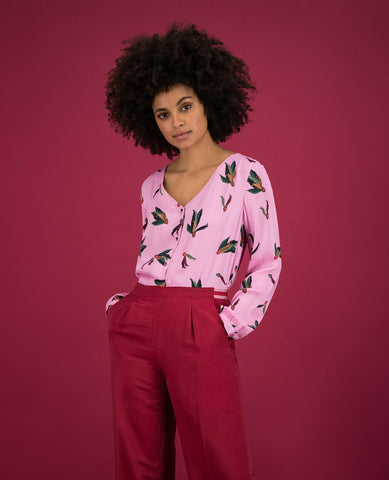 POM Amsterdam Blouse Festival Feather Pink