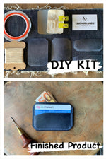 DIY Leather Card Holder (3slots) - Navy