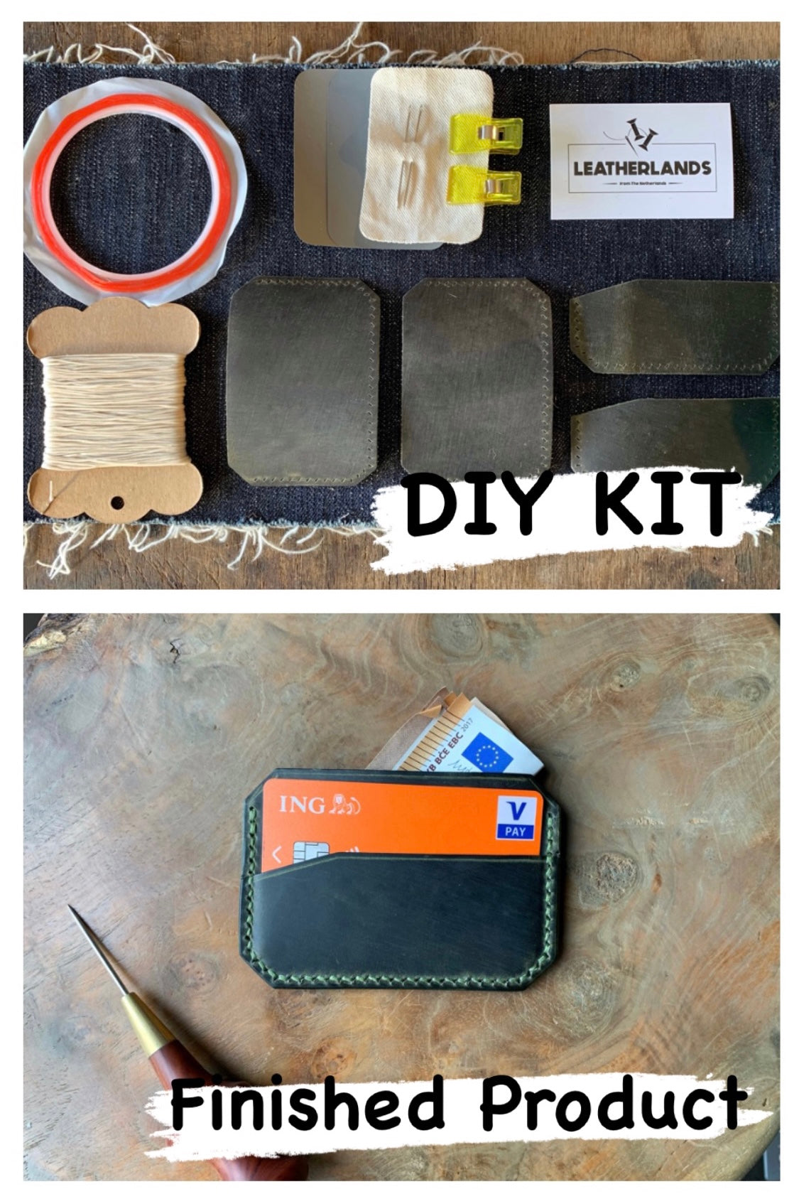 DIY Leather Card Holder - Green
