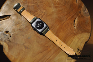 Apple Watch Band In Green & Natural Handstitched
