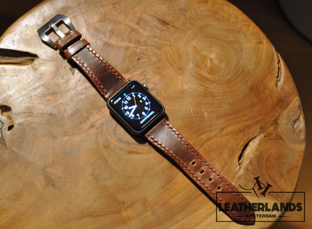 Apple Watch Band In Vintage Brown & Natural Handstitched