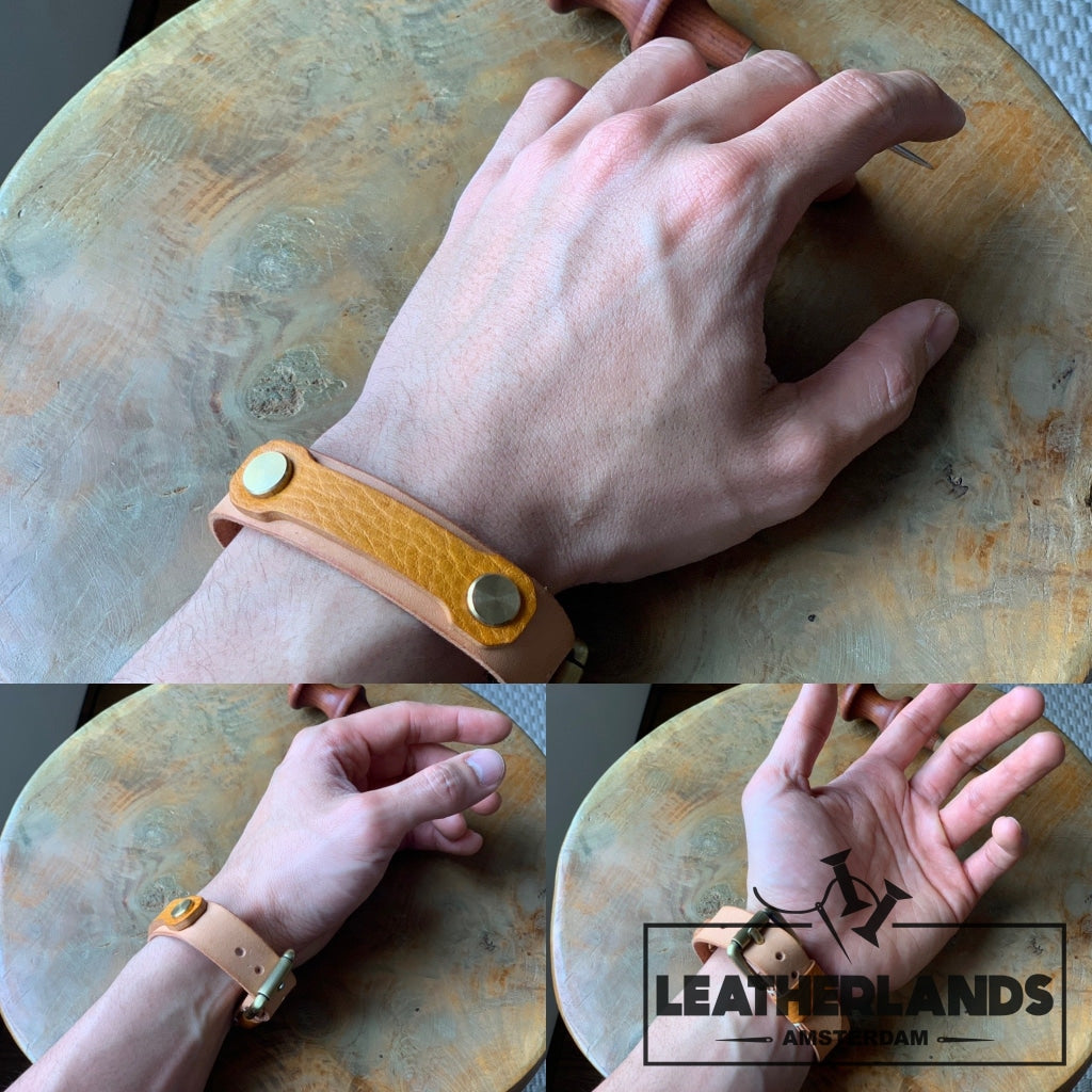 Bracelet - The Spanner In Natural & Ocra Handstitched
