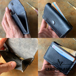 Coin Pouch Card Wallet In Black Handstitched