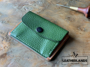 Coin Pouch Card Wallet In Black Natural & Green / With Initials Handstitched
