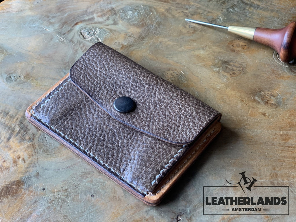 Coin Pouch Card Wallet In Black Natural & Light Brown / With Initials Handstitched