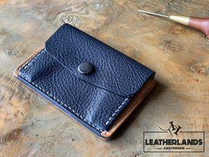 Coin Pouch Card Wallet In Black Natural & Navy / With Initials Handstitched