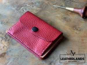 Coin Pouch Card Wallet In Black Natural & Red / With Initials Handstitched