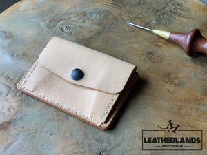 Coin Pouch Card Wallet In Black Natural / With Initials Handstitched