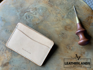Coin Pouch Card Wallet In Natural Handstitched