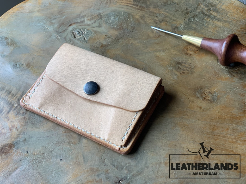 Coin Pouch Card Wallet In Natural & Ocra / Without Initials