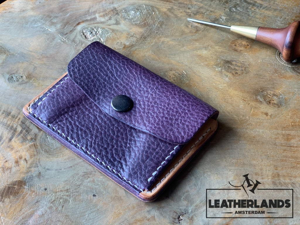 Coin Pouch Card Wallet In Natural & Purple / With Initials Handstitched