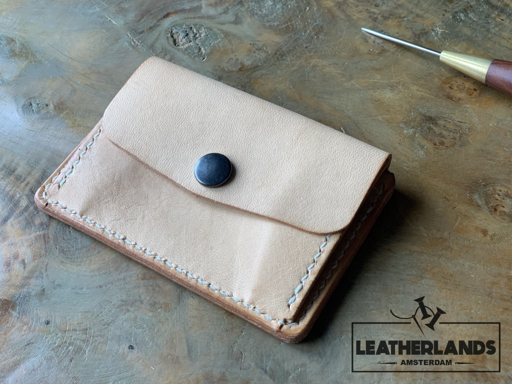 Coin Pouch Card Wallet In Natural / With Initials Handstitched