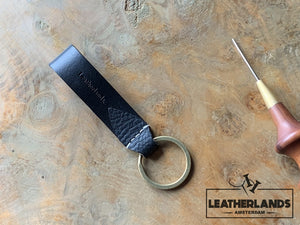 Key Chain 05 - The Leaf In Black Handstitched