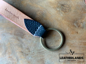 Key Chain 05 - The Leaf In Black Natural & Agave / Without Initials Handstitched