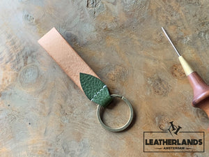Key Chain 05 - The Leaf In Natural & Lattuga Handstitched