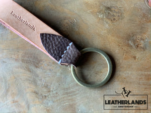 Key Chain 05 - The Leaf In Natural & Lattuga Light Brown / Without Initials Handstitched