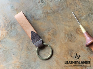 Key Chain 05 - The Leaf In Natural & Safari Handstitched