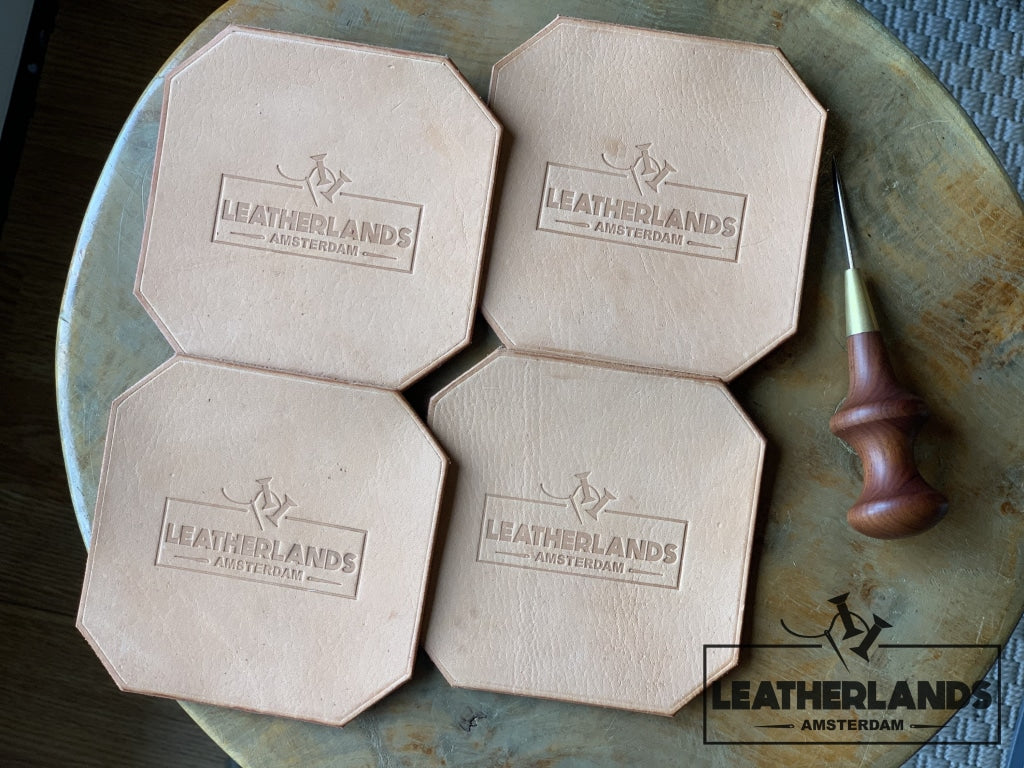 Leather Coasters In Natural A Set Of Four Handstitched