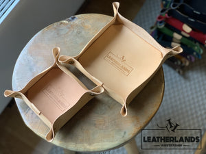 Leather Tray In Natural & Ocra / 1 Set Without Initials Handstitched
