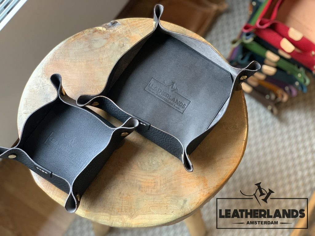 Leather Tray In Natural & Ocra Black / 1 Set Without Initials Handstitched