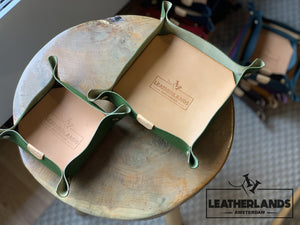 Leather Tray In Natural & Ocra Green / 1 Set Without Initials Handstitched