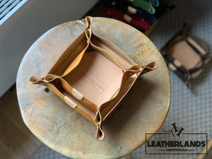 Leather Tray In Natural & Ocra Handstitched