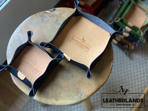 Leather Tray In Natural & Ocra Navy / 1 Set Without Initials Handstitched