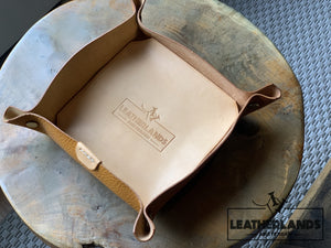 Leather Tray In Natural & Ocra Ochre / Medium Without Initials Handstitched