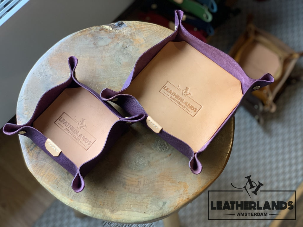 Leather Tray In Natural & Ocra Purple / 1 Set Without Initials Handstitched