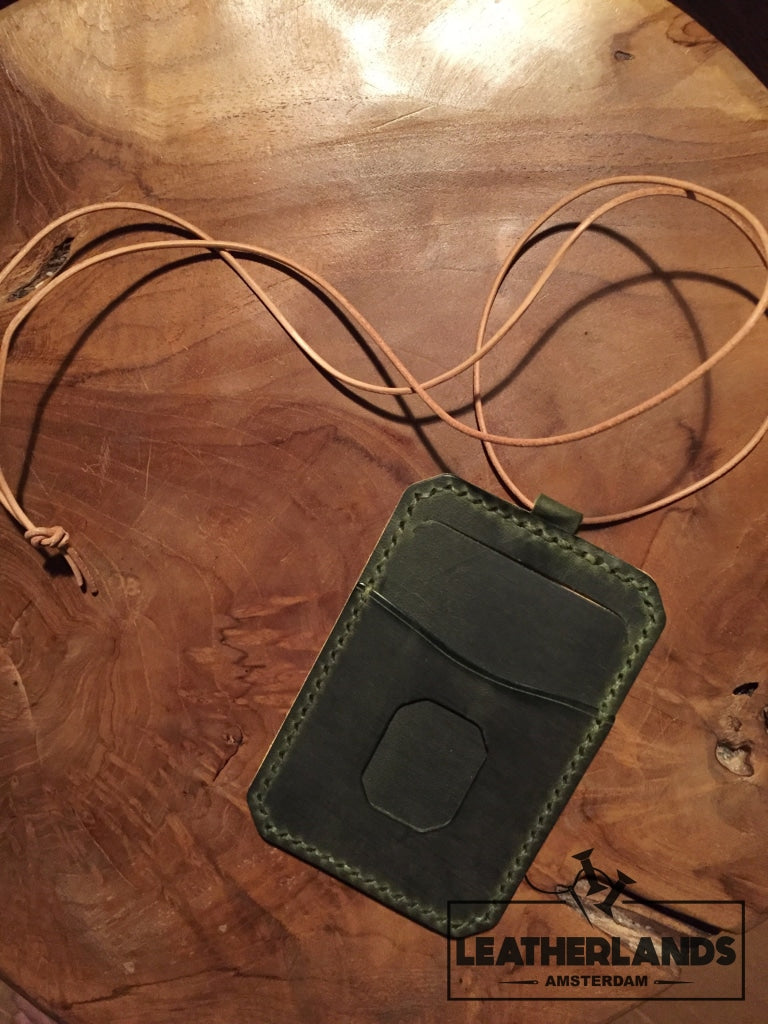 Leatherlands Name Tag/ Work Badge In Green & Natural Handstitched