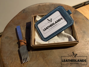 Leatherlands Name Tag/ Work Badge In Ocean Blue & Natural Handstitched