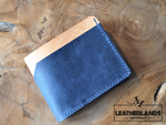 Modern Design Billfold & Coin Pouch Leather Wallet In Navy Natural Handstitched