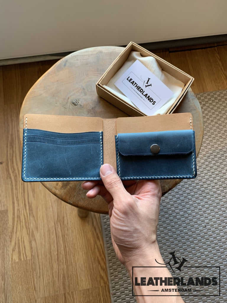 Modern Design Billfold & Coin Pouch Leather Wallet In Ocean Blue Natural Handstitched