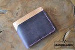 Modern Design Billfold & Coin Pouch Leather Wallet In Purple Natural Handstitched