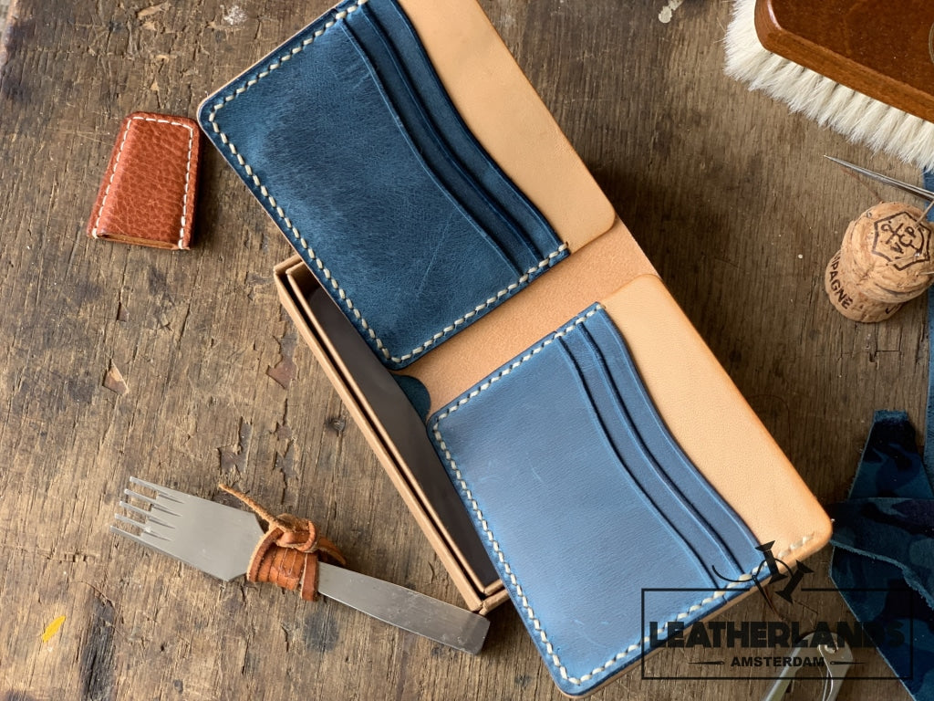 The Billfold In Ocean Blue & Natural Handstitched