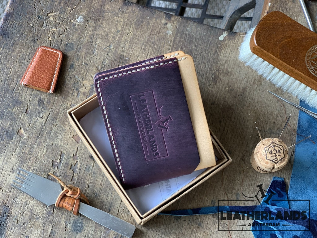 The Billfold In Purple & Natural Handstitched