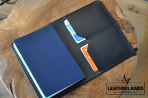 The Domo Passport Holder In Black Handstitched