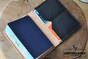 The Domo Passport Holder In Black & Natural Handstitched