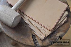 The Domo Passport Holder In Black & Natural With Initials Handstitched
