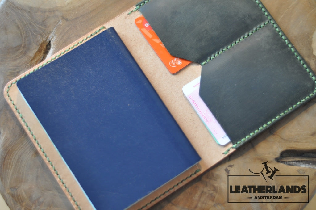 The Domo Passport Holder In Green & Natural Handstitched