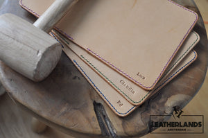 The Domo Passport Holder In Purple & Natural With Initials Handstitched