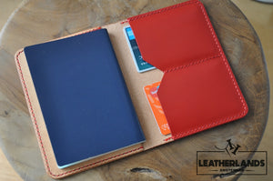 The Domo Passport Holder In Red & Natural Handstitched