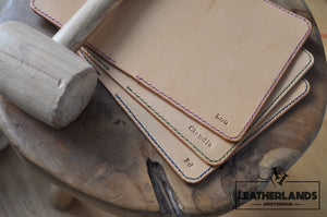 The Domo Passport Holder In Red & Natural With Initials Handstitched