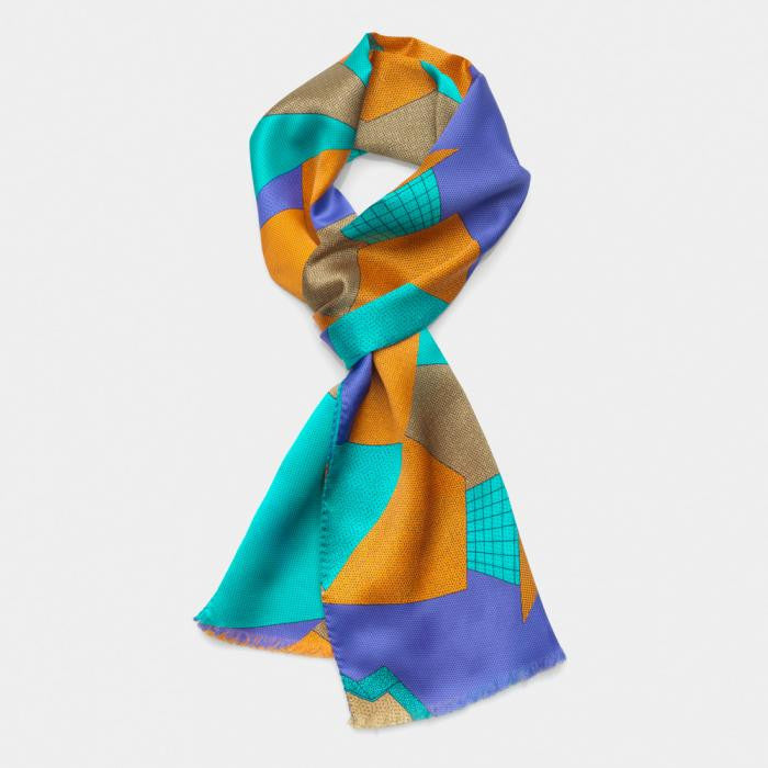 Light Blue-Russet Scarf