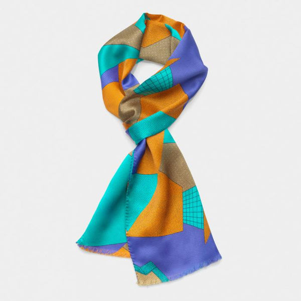 Light Blue-Russet Scarf - Memphis Milano
